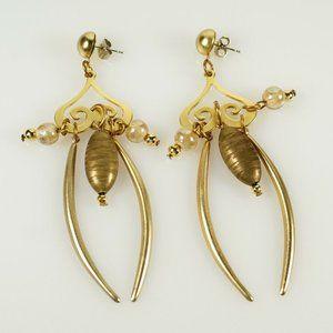 Gold Tone Scroll Glass Bead  Charm Dangle Earrings
